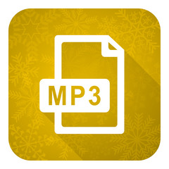 mp3 file flat icon, gold christmas button