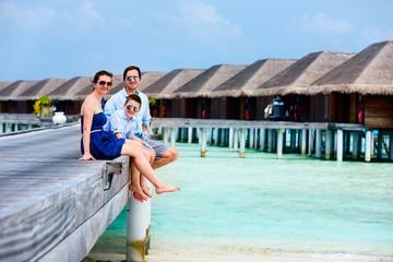 Family on summer vacation at resort