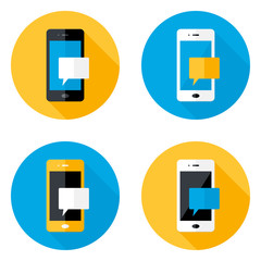 Mobile Message Circle Flat Icons Set