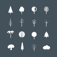 White tree silhouettes clip-art. Design elements