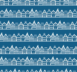 Christmas greeting card. Vintage buildings seamless background
