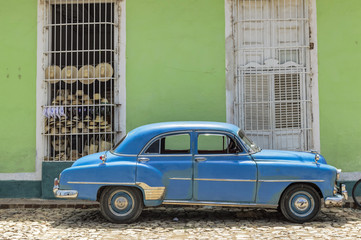 Blue classic car in Trinidad, Cuba