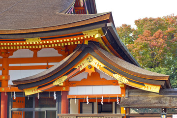 Red shinto temple detail