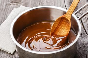 liquid caramel in the iron sauceboat