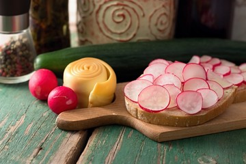 Slice of bread with radish and smoked cheese