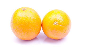 delicious ripe orange isolated on white background with shadow