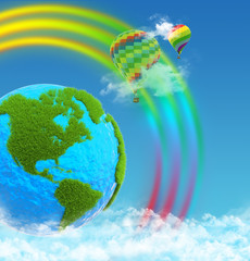Planet earth with continents made of grass. Balloons on rainbow