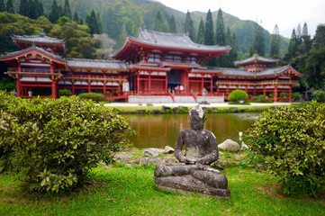 Gray Buddha statue in front of buddhist temple