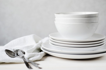 white plates and bowls