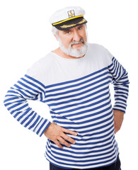 Handsome sailor isolated on white background