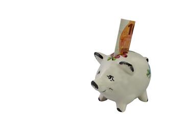 Sparschwein für Kleinsparer schräg von links