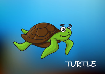 Swimming cartoon sea turtle