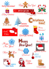 Christmas and New Year holiday designs set