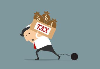 Businessman with heavy taxes