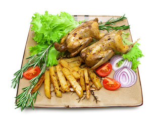 roasted carcass woodcock with potatoes and vegetables on the pla