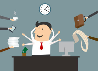 Cartoon multitasking businessman on workplace in office