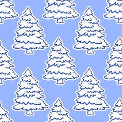 Snowy Christmas trees seamless pattern
