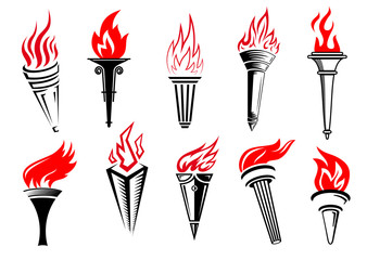 Torches icons with red flames