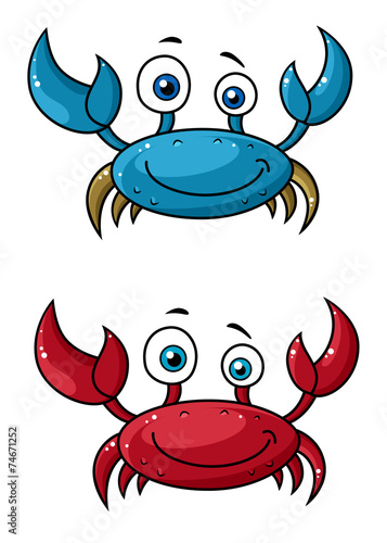 Crab funny cartoon characters - 74671252