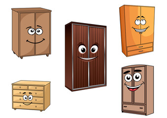 Smiling cartoon cupboards set