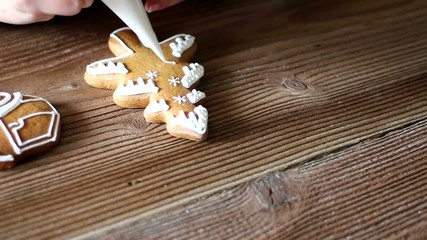 Decorating gingerbread Christmas tree