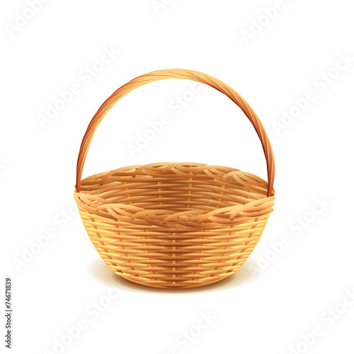 Wicker basket isolated on white vector