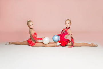 Two smiley gymnasts posing with balls