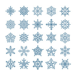 Different snowflake elements set. Design template