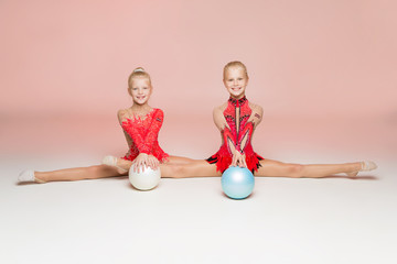 Front portrait of two gymnast