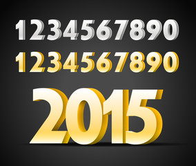 Metal digits collection. Happy new 2015 year