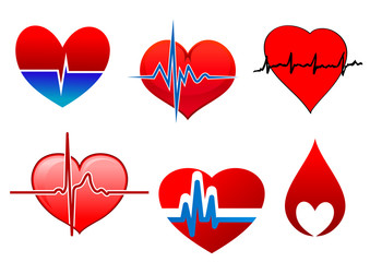 Cardiology symbols and signs with red hearts