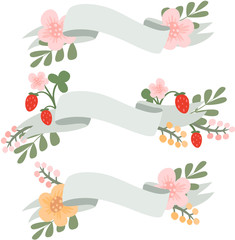 Set of vector flower banners