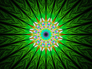 Green sun flower shaped stained glass fractal