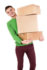 Guy With Moving Boxes - Isolated - Stock Image