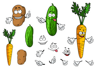 Cartoon potato, cucumber and carrot vegetable characters