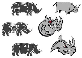 African wild rhinos set