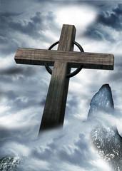 Kreuz, Gipfelkreuz auf Bergspitze, der Berg ruft