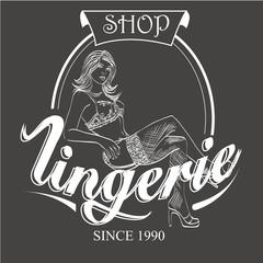 Vector retro emblem lingerie store