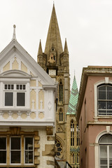 old buildings and Minster tower, Truro