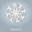 Vector white paper christmas snowflake background cold blue