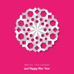 Vector white paper christmas snowflake mandala background pink