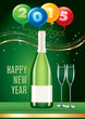 happy new year card with champagne and balloons