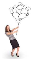 Happy woman holding balloons drawing