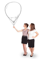 Pretty women holding balloon drawing
