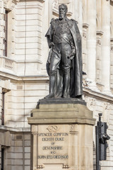 Statue of the Duke of Devonshire at the horse guards avenue in L