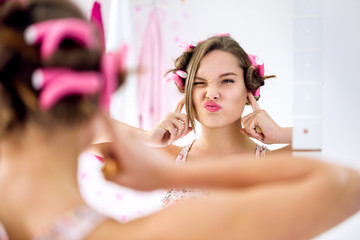 Teen girl gesture and activity not listening