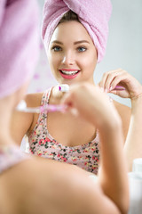 Dental hygiene brushing teeth young girl toothbrush