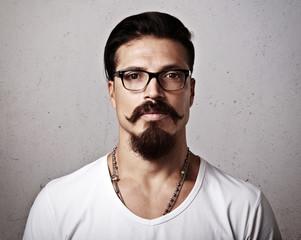 Portrait of a bearded man wearing eyeglasses