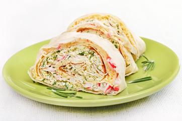 Lavash rolls with crab meat, cheese, eggs and herbs