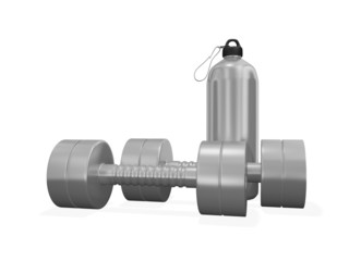 Pair of Chrome Dumbbells and Gym Bottle